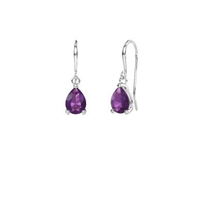 Picture of Drop earrings Laurie 1 375 white gold amethyst 8x5 mm
