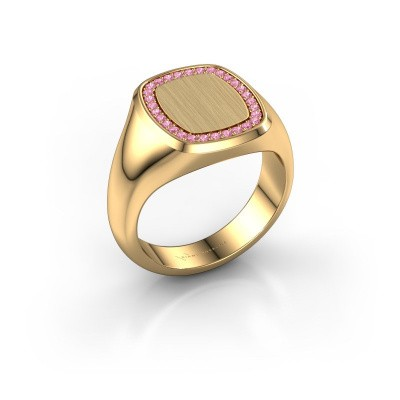 Heren ring Floris Cushion 3 375 goud roze saffier 1.2 mm