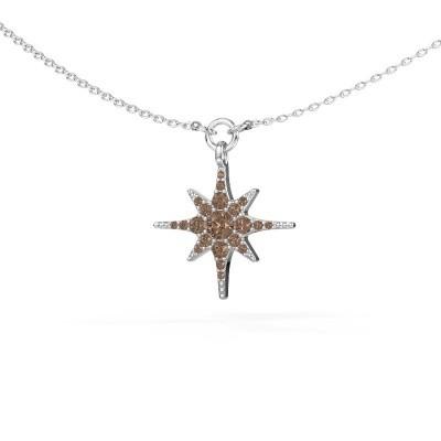 Halsketting Star 585 witgoud bruine diamant 0.29 crt