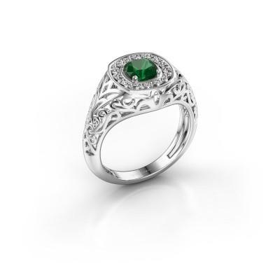 Foto van Heren ring Quinten 375 witgoud smaragd 5 mm