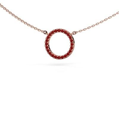 Hanger Circle 375 rosé goud robijn 1.2 mm