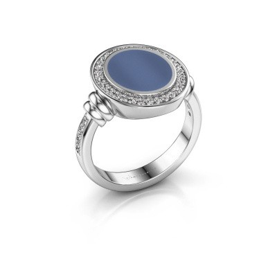 Zegelring Servie 2 950 platina blauw lagensteen 12x10 mm