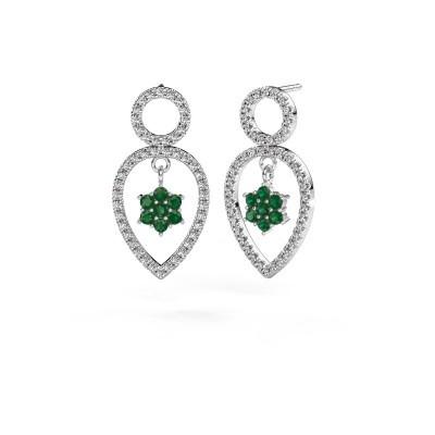 Picture of Drop earrings Lauralee 2 950 platinum emerald 2 mm