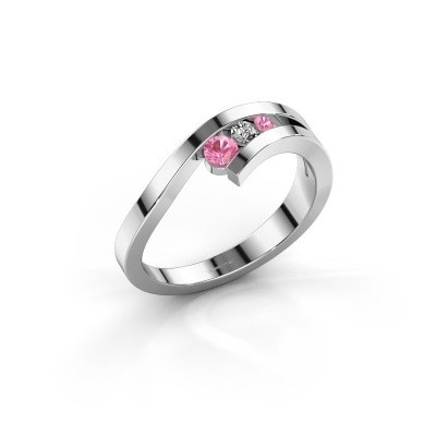 Ring Evalyn 2 585 witgoud roze saffier 2.8 mm