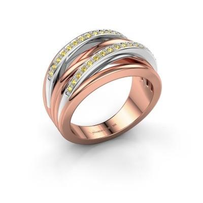 Foto van Ring Annabel 2 585 rosé goud gele saffier 1.2 mm