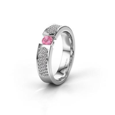 Trouwring WH2100L 585 witgoud roze saffier ±5x3 mm
