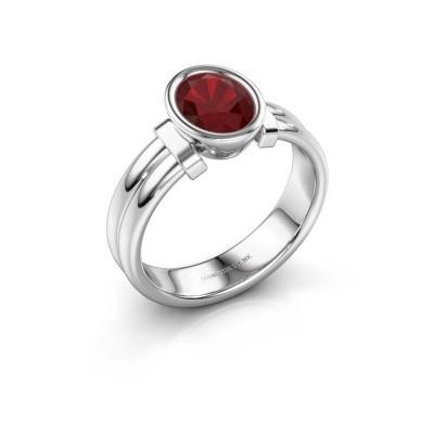 Ring Gerda 925 zilver robijn 8x6 mm