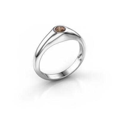 Foto van Pinkring Thorben 375 witgoud bruine diamant 0.25 crt