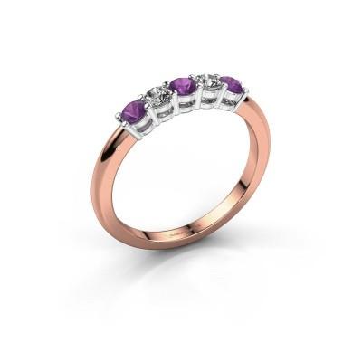 Foto van Promise ring Michelle 5 585 rosé goud amethist 2.7 mm