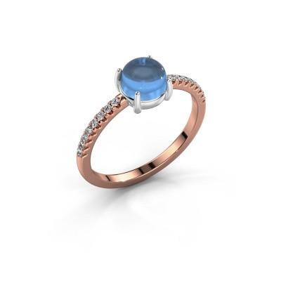 Ring Cathie 585 rose gold blue topaz 6 mm