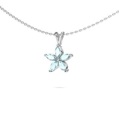 Picture of Necklace Sylvana 950 platinum aquamarine 5x2.5 mm