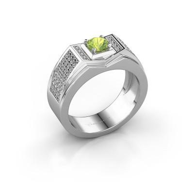 Foto van Heren ring Marcel 375 witgoud peridoot 5 mm
