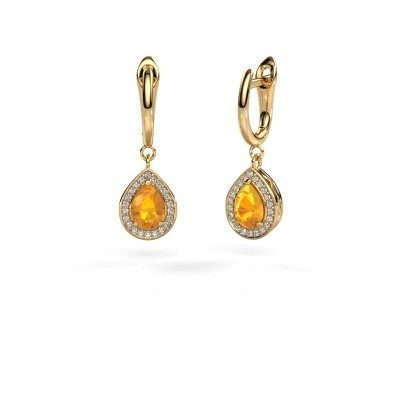 Picture of Drop earrings Ginger 1 585 gold citrin 7x5 mm