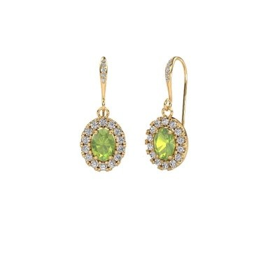 Picture of Drop earrings Jorinda 2 585 gold peridot 7x5 mm