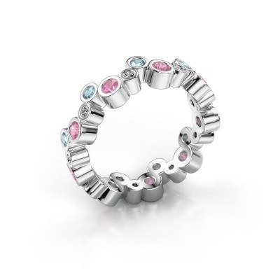 Foto van Ring Tessa 375 witgoud roze saffier 2.5 mm