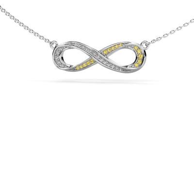 Collier Infinity 2 925 zilver gele saffier 0.8 mm