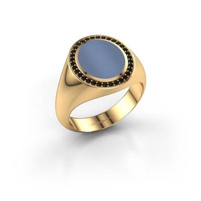 Zegelring Adam 2 375 goud licht blauwe lagensteen 12x10 mm