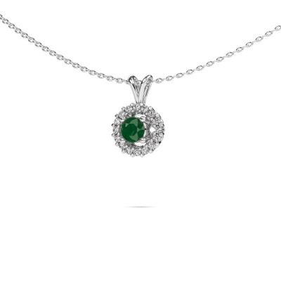 Foto van Hanger Tennille 585 witgoud smaragd 4 mm