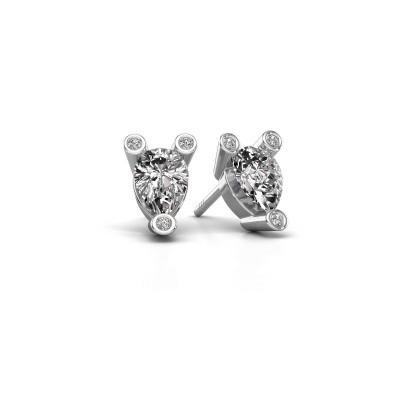 Foto van Oorstekers Cornelia Pear 950 platina diamant 0.65 crt