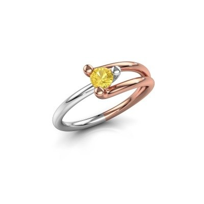 Foto van Verlovingsring Roosmarijn 585 rosé goud gele saffier 4 mm