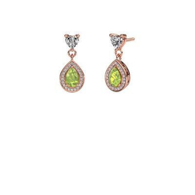 Drop earrings Susannah 375 rose gold peridot 6x4 mm