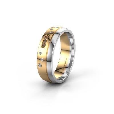 Trouwring WH0310L26AP 585 goud bruine diamant ±6x1.7 mm