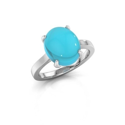 Ring Mallie 1 585 witgoud blauw topaas 12x10 mm