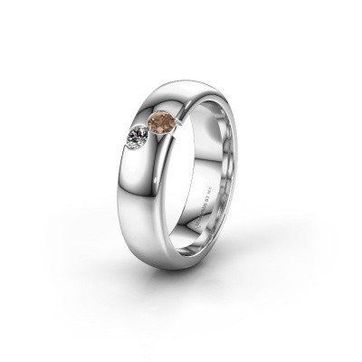 Wedding ring WH1003L26C 585 white gold brown diamond ±6x2.2 mm