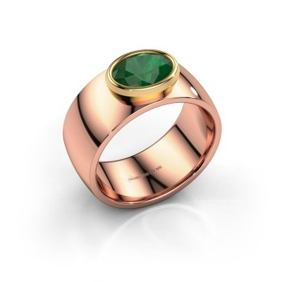 Ring Wilma 1 585 rosé goud smaragd 8x6 mm