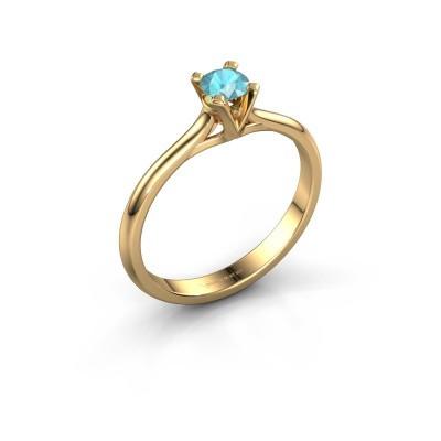 Foto van Verlovingsring Isa 1 375 goud blauw topaas 4 mm