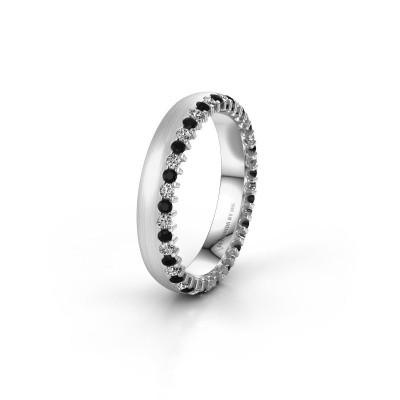 Trouwring WH2138L24B 585 witgoud zwarte diamant ±4x2 mm