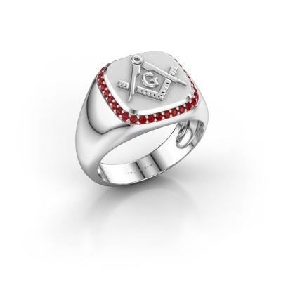Foto van Heren ring Johan 925 zilver robijn 1.2 mm