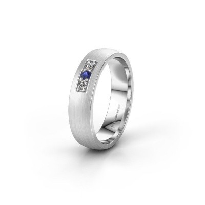 Wedding ring WH0110L25AM 375 white gold sapphire ±5x1.7 mm
