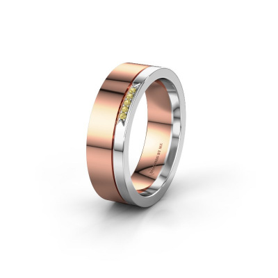 Huwelijksring WH0336L16A 585 rosé goud gele saffier ±6x1.7 mm