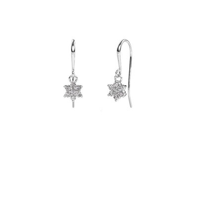 Drop earrings Dahlia 1 585 white gold zirconia 1.7 mm