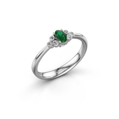 Foto van Verlovingsring Lucy 1 585 witgoud smaragd 6x4 mm