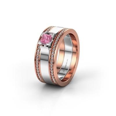 Trouwring WH2121L 585 rosé goud roze saffier ±8x1.7 mm