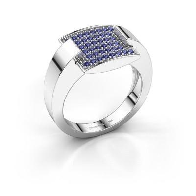 Ring Silke 585 witgoud saffier 1.2 mm