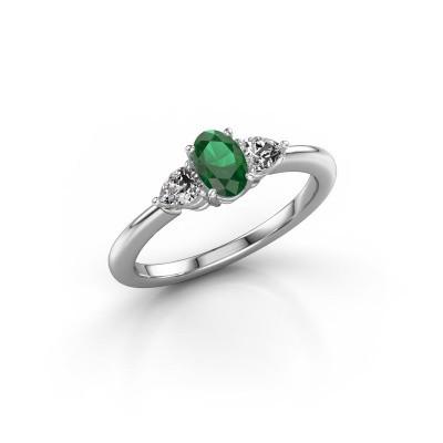 Foto van Verlovingsring Chanou OVL 950 platina smaragd 6x4 mm