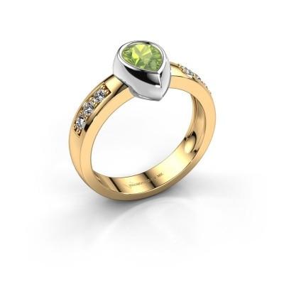 Ring Charlotte Pear 585 Gold Peridot 8x5 mm