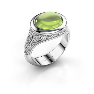 Ring Natacha 375 witgoud peridoot 12x10 mm