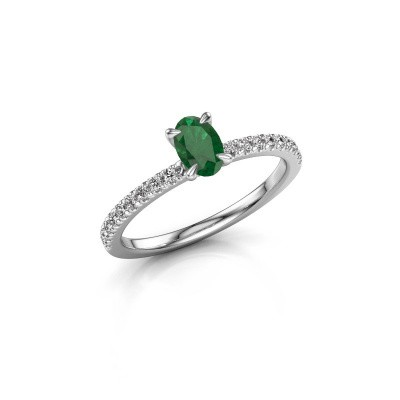 Picture of Engagement ring Crystal OVL 2 925 silver emerald 6x4 mm