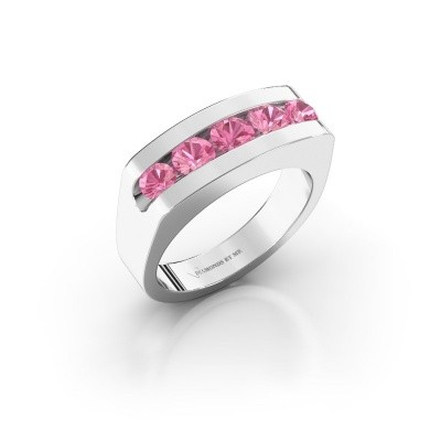 Foto van Heren ring Richard 375 witgoud roze saffier 4 mm