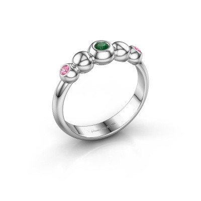 Bague superposable Lily 585 or blanc emeraude 2.5 mm