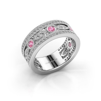 Foto van Ring Jessica 950 platina roze saffier 2.5 mm