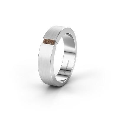 Foto van Trouwring WH2136L15E 585 witgoud bruine diamant ±5x2.6 mm
