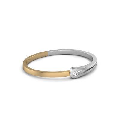 Bracelet jonc Kiki 585 or blanc diamant 0.50 crt