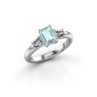 Picture of Engagement ring Kina EME 950 platinum aquamarine 6.5x4.5 mm