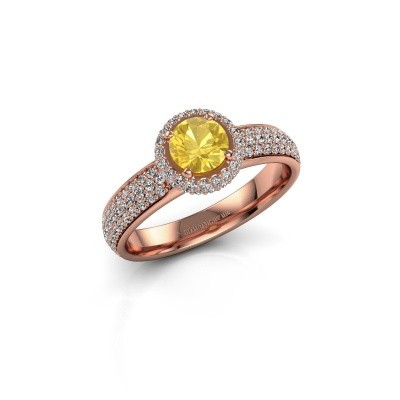 Verlovingsring Mildred 375 rosé goud gele saffier 5 mm