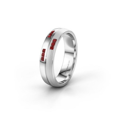 Wedding ring WH0206L25APM 925 silver ruby ±0.20x0.07 in